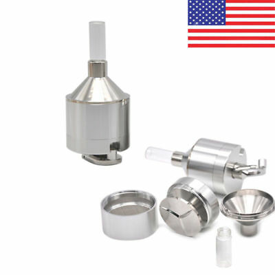 US Metal Powder Grinder  4.4x10.7CM Hand Mill Funnel with Snuff Glass Bottle