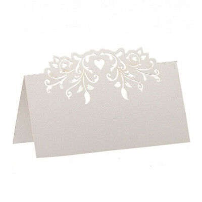 60pcs Lace Wedding Table Name Place Cards Personalised Reception Decoration F5P0