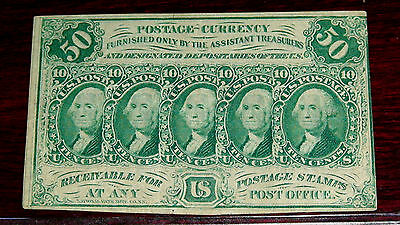 "FR.1312 (1st  Issue) 50 cent ""WASHINGTON"" Plain Edges with Monogram (AU)"