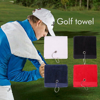 Tri-Fold Golf Towel Washrag With Carabiner Clip Outdoor Sport Bag Cleaning