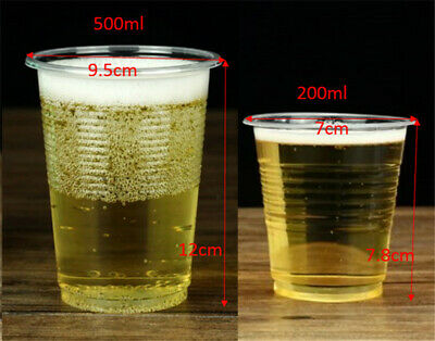 Disposable Clear Plastic Cups 200 ml 500ml Drinking Cup Party Cup