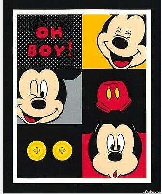 Disney * Mickey Mouse Oh Boy Quilt Panel * In Stock * Free Post *