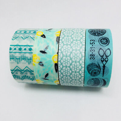Washi Tape Set Mint/aqua 4 Rolls X 15Mm X 5Mtr Roll Planner Craft Scrap Wrap