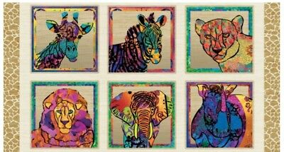Serengeti Reflection Quilt Panel * Exotic Coloured Animals * New *  Free Post *