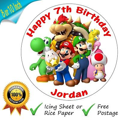 Super Mario Brothers Personalised Round Edible Cake Topper