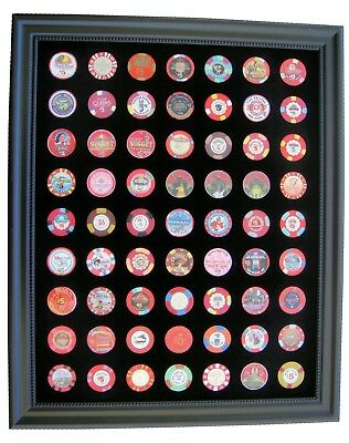 Black Casino Chip Display Frame for 63 Casino Poker Chips (not included)