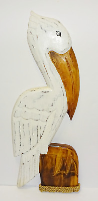 """24"""" White Pelican Hand Carved Painted Wood Tropical Sculpture Bird Wall Hanging"""