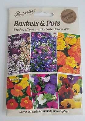 2000 Flower Seeds-6 Packs Basket/pots-Sow By 2021-Petunia/viola/lobelia/marigold