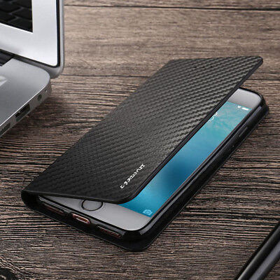 Ultra Thin Magnetic Carbon PU Leather Flip Wallet Case Cover For Various Phones