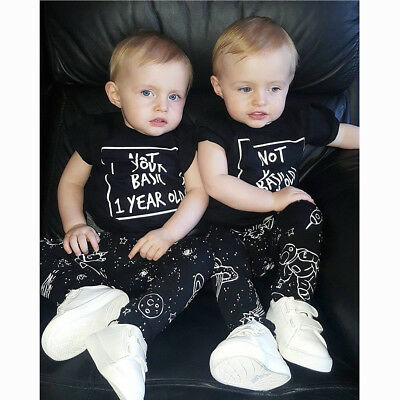 Newborn Toddler Baby Boy Girl Infant Outfits Clothes T-shirt Tops+Pants 2PCS Set