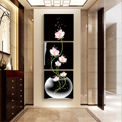 3pc Art Modern Flower Canvas Painting Picture Print Wall Hangings Decor Unframed