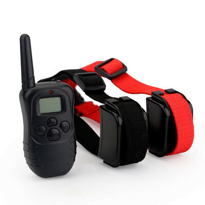 Rechargeable Waterproof 2 Pet Dog No Bark Shock Trainer E-Collar 300m LCD Remote