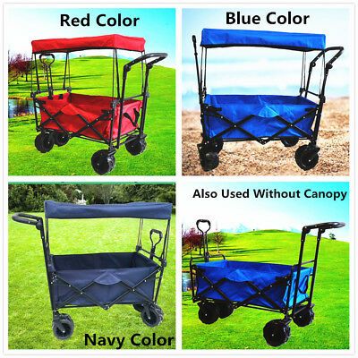 Collapsible Camping Beach Sport Wide Tyre 2 Handle Canopy Wagon Buggy Cart