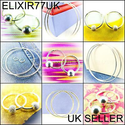 925 Sterling Silver Hoop Earrings Large Small Set Studs cz Ball Nose Solid Rings