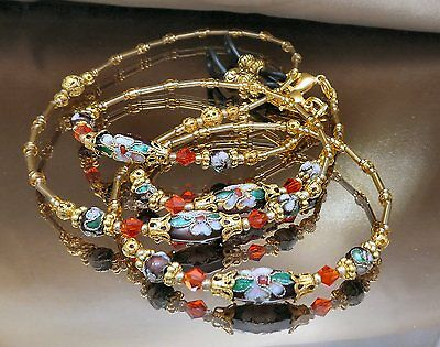 Spectacle Glasses Eyewear Beaded Chain Holder Wine Cloisonné Gold (S1805)