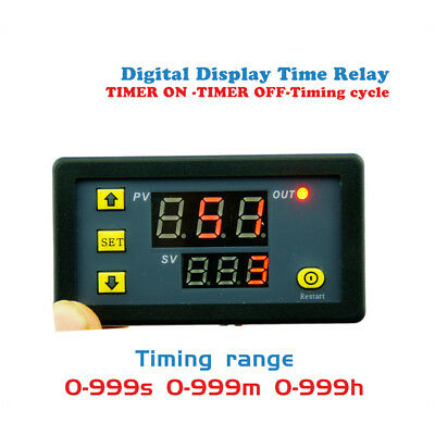 Timing Delay Relay Module 12V Cycle Timer LED Digital Dual Display 0-999 Minutes