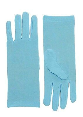 Short Light Blue Adult Female Costume Dress Gloves One Size