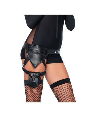 Police Utility Belt With Garter Leg Strap And Assorted Pockets One Size