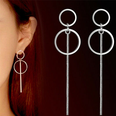 Silver Geometric Earrings Women Circle Long Drop Dangle Earrings Women Jewelry W