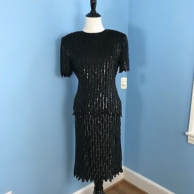 NEW STENAY Silk Black Beaded Sequined Cocktail Evening Suit Set Skirt Top Vint