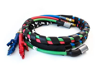 12' 3-In-1 Wrap 7 Way Electrical Green Abs Trailer Cord & Air Line Hose Gladhand