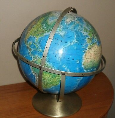 Vintage TRIPLE Axle 1957-1961 ROTATING World GLOBE on Stand by Rand McNally
