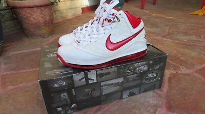 newest collection dce65 ed0c2 Nike Air Max Lebron James 7 VII NFW Size 10 White Red 383578-161 Rare