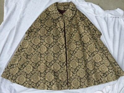 Vintage 1960's 70's gold metallic embroidered lined cape brocade coat cloak