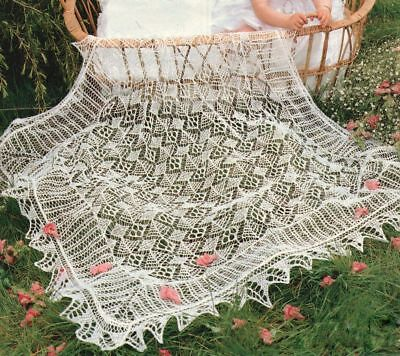 Delicate Lacy Trad Shetland Christening Baby Shawl Knitting Pattern
