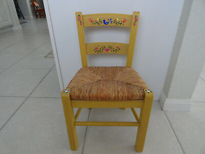 Child's Wooden Chair With Rush Seat And Painted Detail