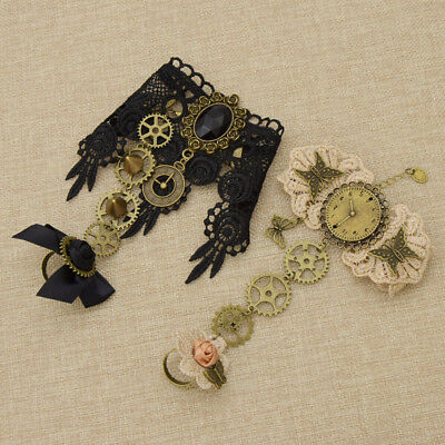 Vintage Steampunk Gear Victorian Gothic Bracelet Lace Flower Bowknot Wristband