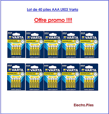 Lot de 40 Piles Varta zinc carbone Superlife AAA LR03 prix cassé !!
