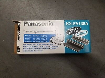 2-Roll Panasonic KX-FA136A Genuine Replacement Film KX-FA136 Opened Box