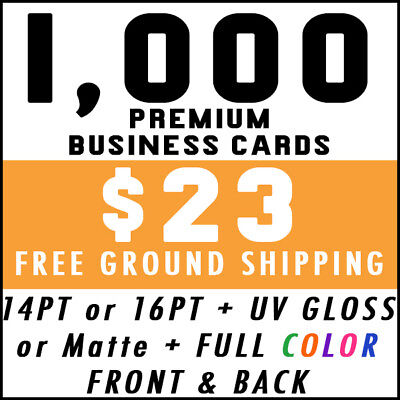 1000 Full Color 2-Sided Business Cards Printing - Free Shipping UV Gloss Matte