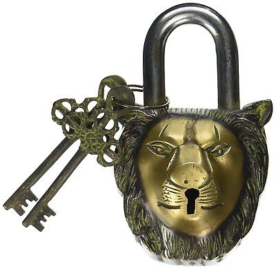 Vintage Padlock For Garden Lock With Two Keys, Lock - Functional Brass in Lion