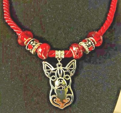 "Handcrafted Silver Chihuahua Dog Head 22"" Red Satin Cord Necklace Beads Jewelry"