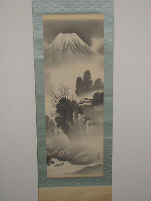 Japanese Hand Painted Hanging Scroll - Mt.  Fuji