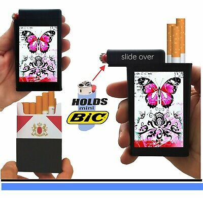 Pink Butterfly Cigarette Case Lighter Box Holder Kings 100's Ryo