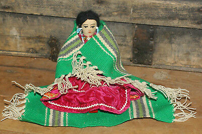 """Vintage Navajo Indian Pin Cushion Doll with Blanket 8 1/2"""""""