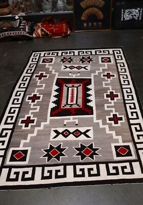 Handsome Antique Navajo Indian Crystal Rug  - Classic JB Moore Storm Pattern