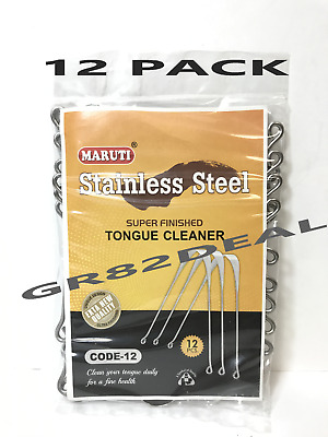 New Stainless Steel 12-Pack Super Finished Tongue Cleaner Scraper 12 Pieces