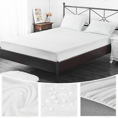 Waterproof Single Queen Bed Mattress Protector Cover Sheet Fitted Terry Towel