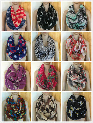 SALE Women Fashion Assorted Designs Light Weight Infinity Circle Loop Scarf Wrap