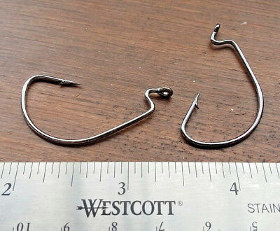 25ct 1/0 Worm Hooks EWG EXTRA WIDE GAP BLACK NICKEL OFF SET 2X STRONG