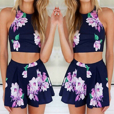 Womens Fashion Floral Swimwear Ladies Swimming Swimsuit Top Shorts Set Beachwear
