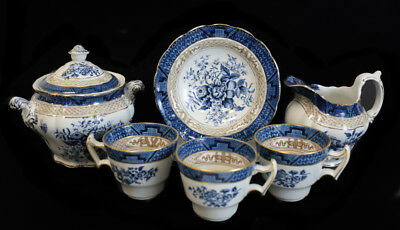Booths Silicone China Blue & White Gold Peony Tea Service Set for 3. c1900 #3252