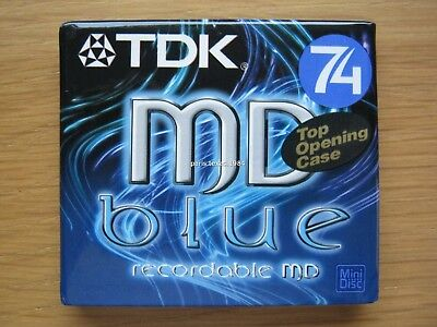 TDK MD Blue Minidisc 74 Recordable Top Opening Case