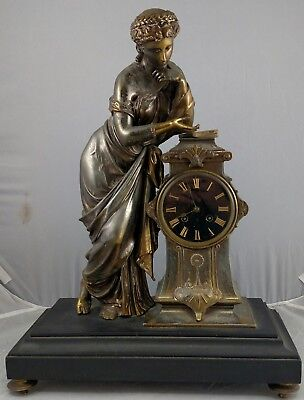Antique 19th C FRENCH Classical Figural Black MARBLE & Metal MANTEL Shelf CLOCK