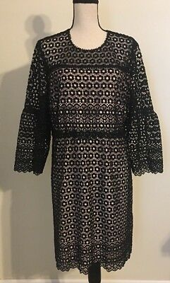 0fbf4dbf980 NWT JCREW  188 Bell-sleeve daisylace dress Size16 In Bkack G7801 FA17