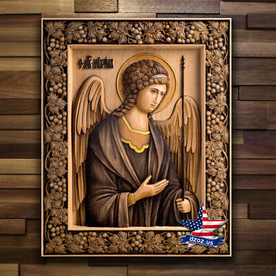 Archangel Michael Wood Icon Carved Artwork Picture Painting Christian Decor 3D